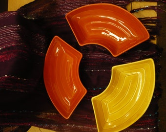Set of Three Lazy Susan Dishes, Yellow and Orange, USA