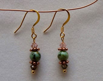 14k gold plated earrings with african turquoise