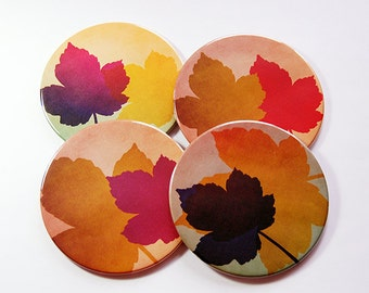 Coasters, Leaf Coasters, Drink Coasters, Thanksgiving Coasters, Fall Colors, Wine Coasters, Hostess Gift, Housewarming Gift, Nature (5127)