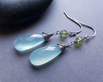 Aqua Chalcedony Earrings, Aqua Dangle Earrings, Beach Jewelry, Peridot Earrings, Peridot Jewelry, Sterling Silver Earrings, Gift for Mother