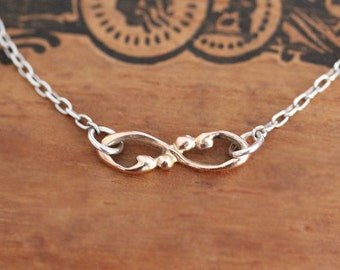 Rose gold infinity necklace, 14k gold infinity charm necklace, tiny infinity necklace, bridesmaid gift, anniversary gift, custom