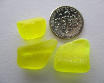 GENUINE SEA GLASS 3 Bright Yellow Beads Pendants Real Surf Tumbled Natural Unaltered Greek Beach Found Undrilled Seaglass Jewelry Bead U 728