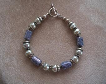 Vintage Bracelet, Sterling Silver, Pearls and Porcelain, from Nanas Vintage Shop on Etsy
