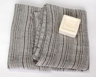 100% Linen Bath Towel * Waffle Weave Bathtowel * Grey Striped Linen Travel Towel Organic Waffle Linen Towels Natural Pure Flax Sheet Blanket