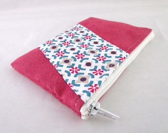 Pink suede purse and vintage patterns fabric pink and blue