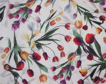 Lively and Colorful Tossed Tulips on White Digital Print Pure Cotton Fabric--By the Yard