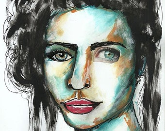 drawing, original illustration, mixed media, painting and collage