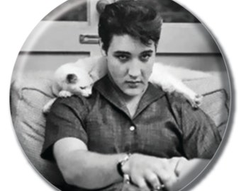 Elvis holding a cat 1.75 inch pinback button