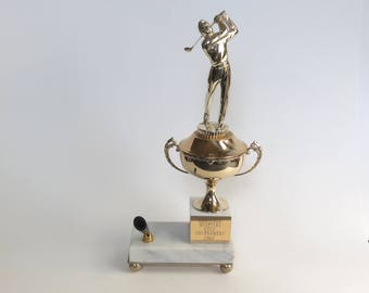 Vintage Golf Trophy 1960s Golfer on Marble Base