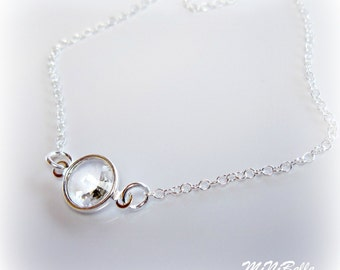 Single Solitare Crystal Necklace. Crystal Floating Necklace. Bridal Necklace. Bridesmaids Necklace. Swarovski Crystal Rivoli