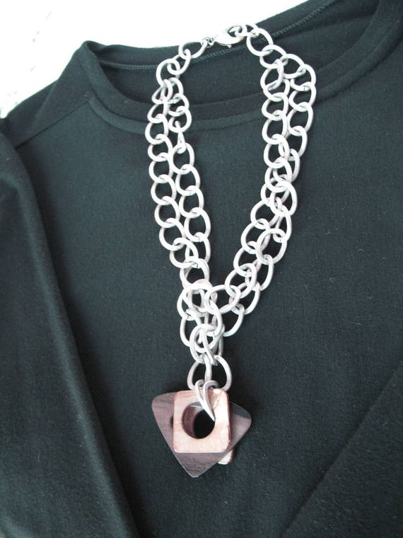Statement Necklace in Chunky Aluminum Chain, Brown Wood and Mother of Pearl Pendant