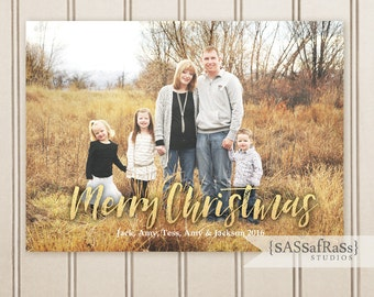 Gold Foil Greetings --Christmas & Holiday Card Templates for Adobe Photoshop, Photographer Template, Instant Download, DIY, Commercial Use