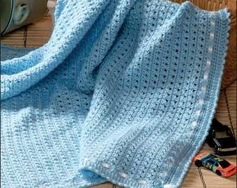 Hand Knit Cotton Baby Blanket - 100% Organic