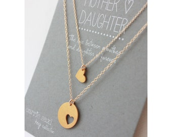 Mother Daughter Necklace Set - mother necklace - daughter necklace - mother daughter jewelry - jewelry gift - Mother's Day - Gift for her