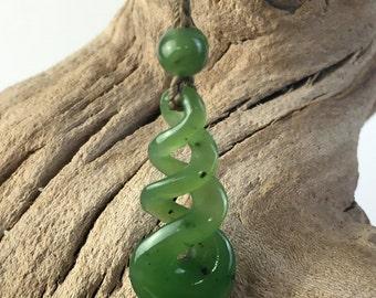Canadian Nephrite Jade Twist Pendant - Green Jade - Natural Jade