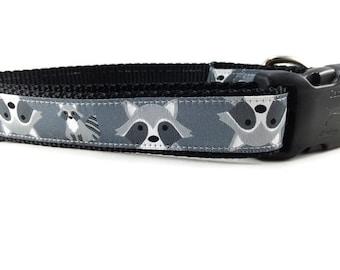 Dog Collar, Raccoon Dog Collar, 1 inch wide, adjustable, quick release, metal buckle, chain, martingale, hybrid, nylon