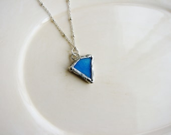 Blue Stained Glass Necklace, Glass Necklace, Minimalist Jewelry, Soldered Glass Necklace, Blue Glass Necklace