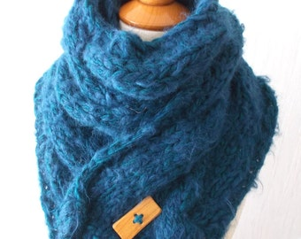 Chunky Scarf Big Cabled Teal Blue Cowl Hand Knitted