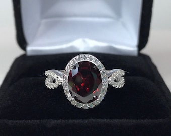 Gorgeous 3ct Red Garnet & White Sapphire Ring Sz 7 8 Sterling Silver Jewelry Trends and Gemstones Oval Garnet Ring January Birthstone