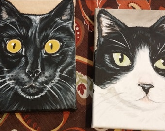 Two Custom Pet Portrait Paintings 5x7 - hand painted just for you