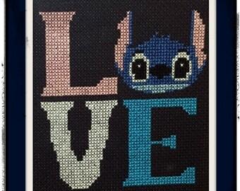 LOVE Lilo and Stitch Cross Stitch DIGITAL PATTERN