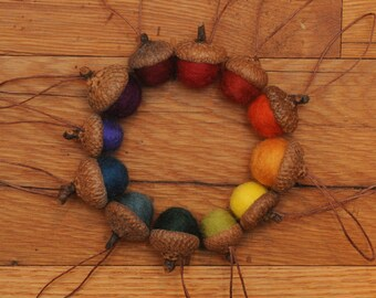 Rainbow Felted  Acorn Ornaments Set of 12, also available without hangers