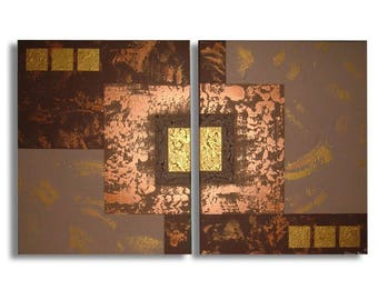 Contemporary art gold brown beige abstract diptych painting chiaradeco statement