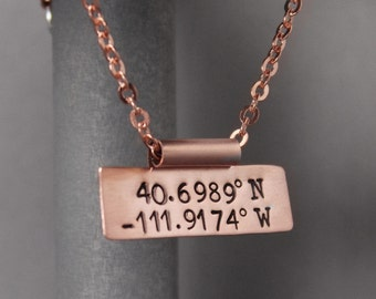 Coordinate Necklace, Hand Stamped Jewelry, Long Distance Relationship, Latitude Longitude Necklace, Coordinate Jewelry, Copper Necklace,