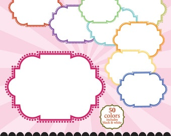 Dot frame clip art, ornate digital frame in 50 colors white filled and transparent : e0168 v301 50