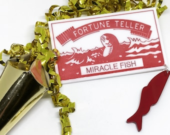 Laser Cut Acrylic Christmas Brooch - Miracle Fish - Fortune Necklace - Fortune Telling - Plastic Jewellery