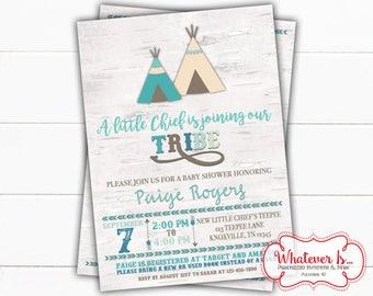 Tribal Baby Shower Printable Invitation | Boho Printed Baby Shower| TeePee Baby Shower Printable Invitation | Baby Tribe | Little Chief Baby