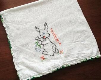 Vintage Easter Sunday kitchen towel, hand stitched,