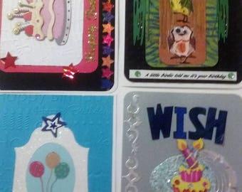 Happy Birthday 4 pack assortment, handmade, dimensional, embossed