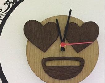 wall clock emoji emoticon love made on wood