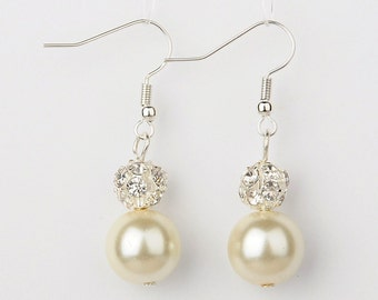 Glass Pearl Dangle Earrings
