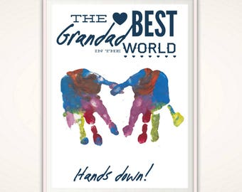 Grandad Gifts - Grandad Fathers Day Gift from Grandkids, Handprint Art, Gift for Grandad, Handprint Art, Personalized Present DIGITAL DIY