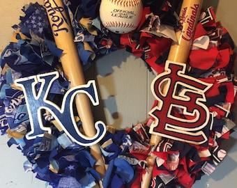 Home divided wreath, KC Royals, St. Louis Cardinals