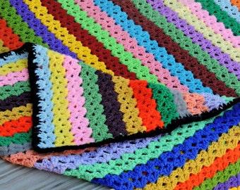 Striped Vintage Afghan / Striped Crochet Afghan / Vintage Crochet Knitted Afghan