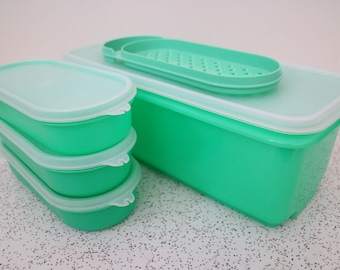 tupperware in green...set of vintage tupperware containers and grater