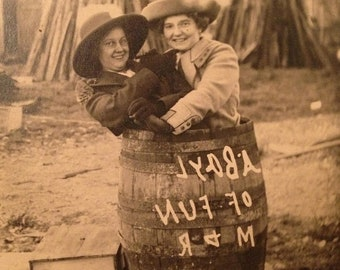 ON SALE Early 1900's Girls Ladies Women in a Barrel Hugging Old Vintage Antique Real Photo Postcard RPPC Unused