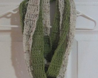 Oatmeal Tweed and Sage Super Long Infinity Scarf