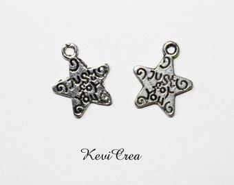 20 x charms star Just for You silver metal