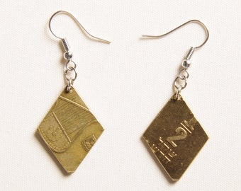 Diamond Shape coin earrings, FREE SHIPPING, Upcycled jewelry, Upcycling