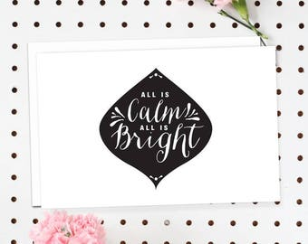 4-Pack of Flat Notecards - Stationery With Envelopes - All Is Calm, All Is Bright