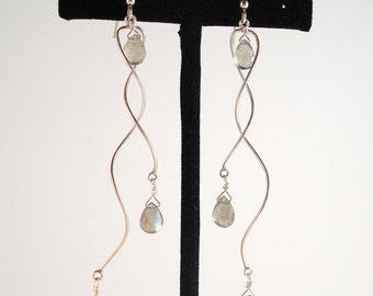 sterling silver spiral labradorite dangle earrings