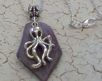 Natural Purple Sea Glass Pendant with a Pewter Octopus Charm by Carol Wilson of Jet'adorn