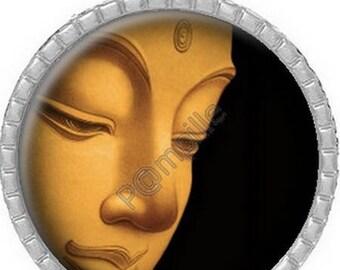 Cabochon pendant - Gold Buddha - (108)