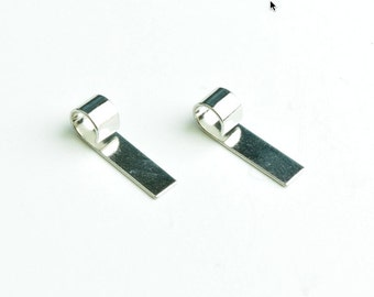 Glue on Bail, flat with rolled Loop 19mm x 5mm Bail, Silver Tone or Gold plate,  pk/12