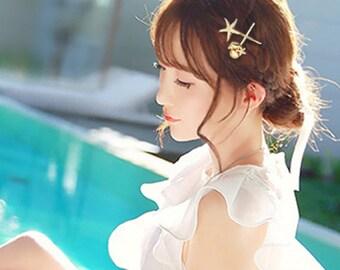 Gold Starfish Hair Pin, Seashell hair clip, Gold Starfish Bobby Pin, Beach Hair Pin Starfish Hair Clip, Wedding Hair Accessories