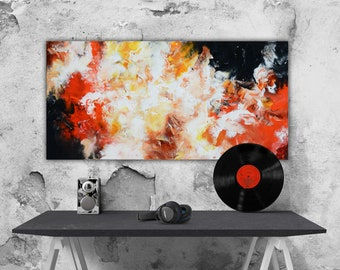 Abstract canvas art, abstract painting on canvas, red black white painting, panoramic art, original art by andrada, large art